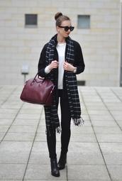 vogue haus,blogger,scarf,handbag,givenchy,sweater,jeans,coat,shoes,bag,sunglasses,jewels