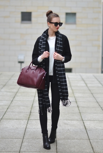 vogue haus blogger scarf handbag givenchy sweater jeans coat shoes bag sunglasses jewels