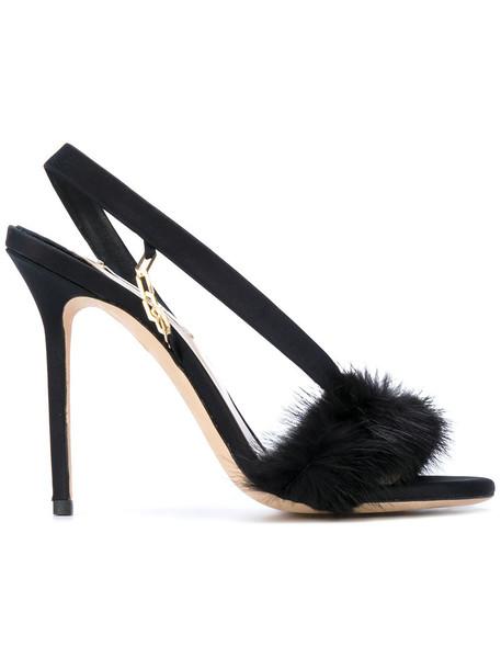Olgana women sandals leather black silk satin shoes