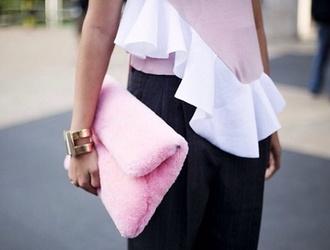bag pink furry clutch