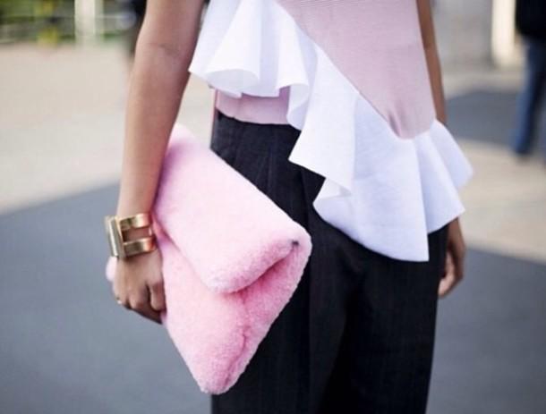 bag pink fluffy clutch