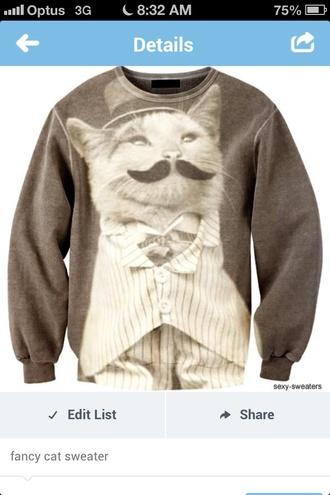 sweater moustache grey cats fancy