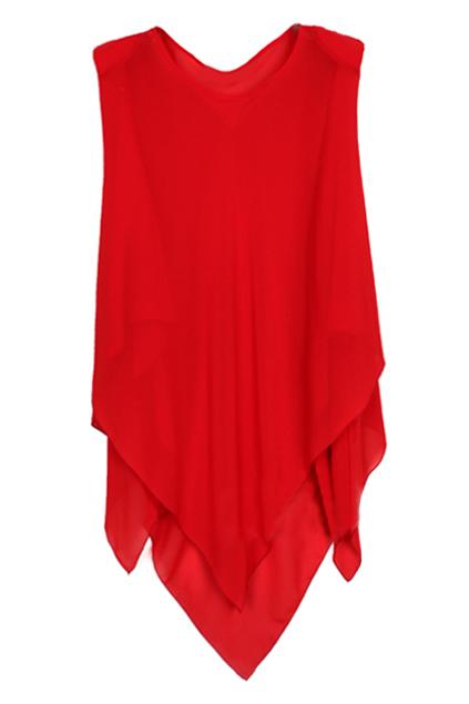 ROMWE   ROMWE Asymmetric Shoulder Sleeveless Red Dress, The Latest Street Fashion