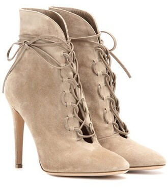 suede ankle boots boots ankle boots lace suede beige shoes