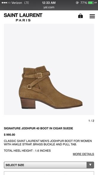 shoes harry syles suede tan yves saint laurent