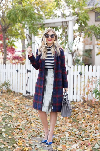 suburban faux-pas blogger jacket skirt sunglasses bag jewels shoes fall outfits metallic skirt striped top handbag pumps