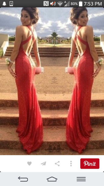 dress red long prom dress red sparkle prom long