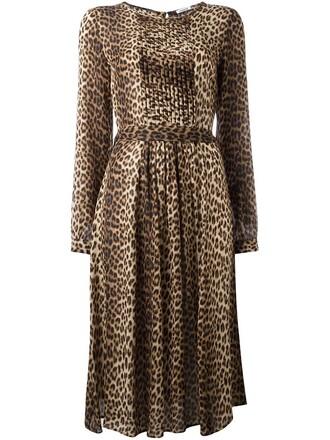 dress print dress women animal print silk brown animal print