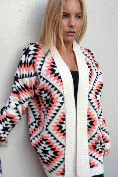 Neon Coral & Black Aztec Print Knit Sweater on Wanelo