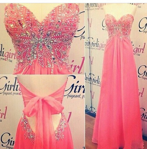 dress prom dress pink dress bow dress open back prom dress long prom dress