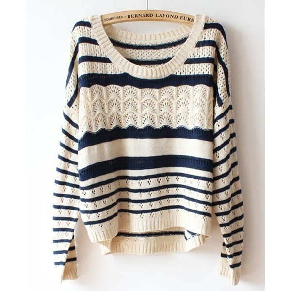 Beige Batwing Sleeves Sweater in Stripe Print - Polyvore