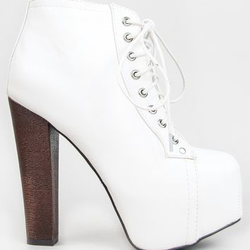 Breckelle's BRITNEY-02 Women's Round Toe Lace Up Zipper Wooden Chunky High Heel Platform Ankle Booties on Wanelo