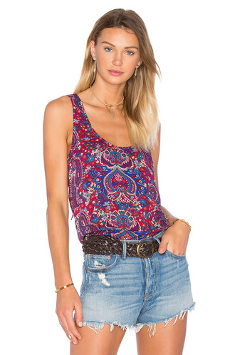 back lace paisley red top