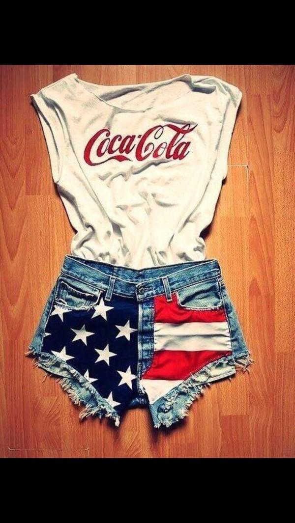 shirt coca cola american flag shorts shorts me you