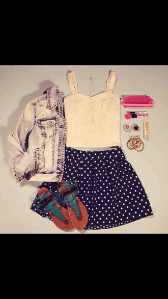skirt dark blue polka dots