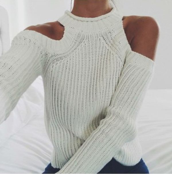 Beige Off the Shoulder Knit Sweater -SheIn(Sheinside)