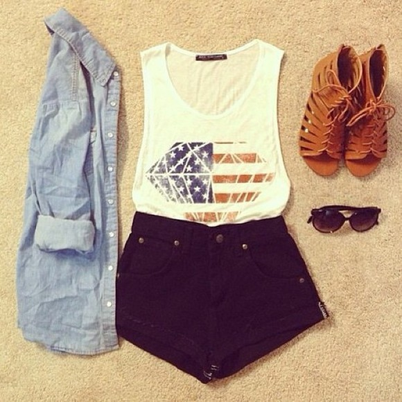 denim top diamonds tank top shoes