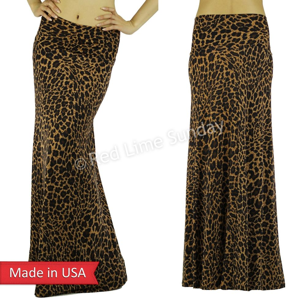 Women Brown Leopard Animal Print Fold Over Wide Waistband Long Maxi Skirt USA