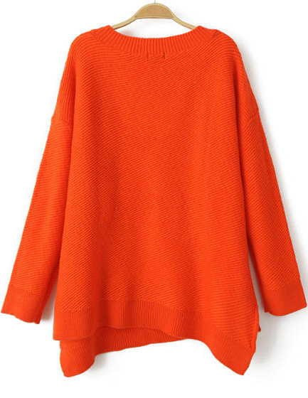 Orange v neck long sleeve asymmetrical knit sweater