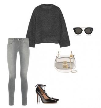helena bordon blogger grey sweater grey jeans black heels silver bag high heel pumps