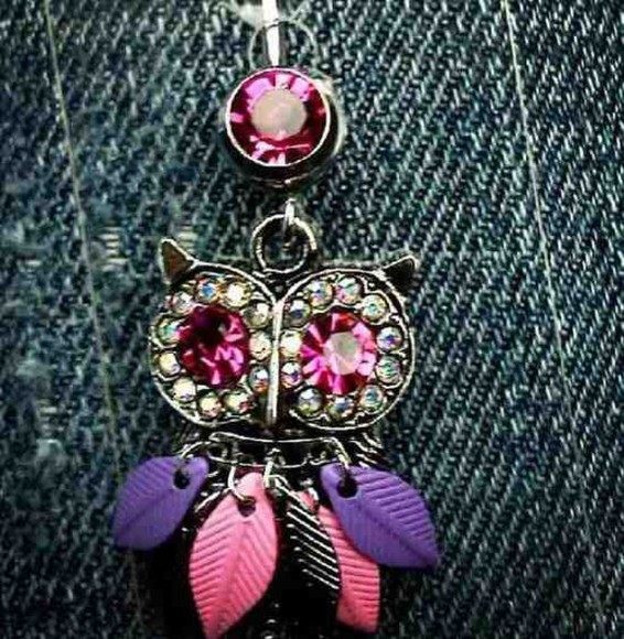 owl jewels belly button ring