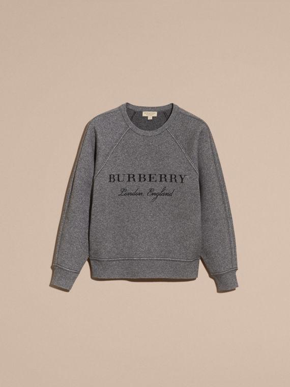Topstitch Detail Wool Cashmere Blend Sweatshirt Mid Grey Melange