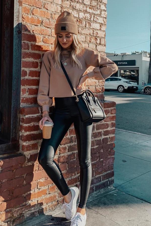 sweater lauren bushnell celebrity instagram leggings beanie sneakers hoodie fall outfits