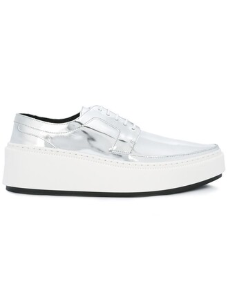women shoes leather grey metallic