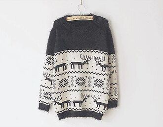 sweater shirt black white winter sweater christmas sweater christmas cozy warm nice blue sweater wool animals motifs rennes pullover deer oversized sweater reindeer sweater snowflake cozy sweater holiday season