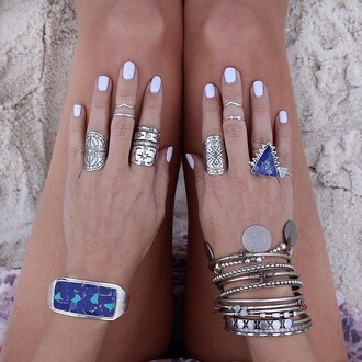 jewels rings ring bracelet triangle beach blue stone
