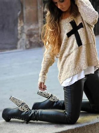 sweater cross heels high heels studs studded heels leather pants leggings leather ombre hair knitwear cross sweater outfit