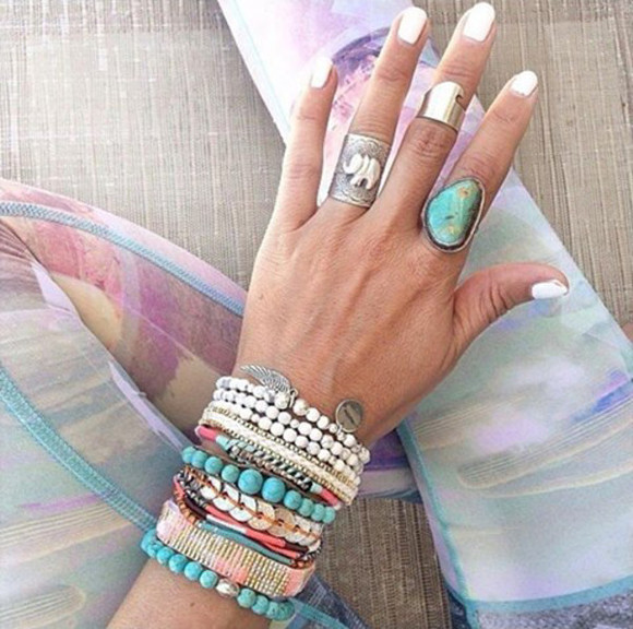 white pink ethnic jewels bracelets silver hipanema rings ethnic jewellery turquoise jewelry turquoise pink bracelets white bracelets turquoise ring elephant elephant ring feather boho ring silver rings silver jewelry rings, ring, silver, jewels, jewellery, brazil