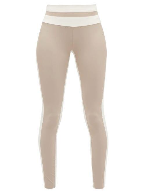 Vaara - Flo Striped Performance Leggings - Womens - Brown Multi