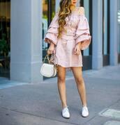 dress,tumblr,pink dress,off the shoulder,off the shoulder dress,mini dress,shoes,white shoes,bag,white bag,long sleeves,long sleeve dress