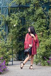 looks by lau,blogger,dress,bag,shoes,long sleeves,red dress,bell sleeves,shoulder bag,fringed bag,sandals,bell sleeve dress