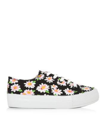 Black Daisy Print Lace Up Flatform Trainers
