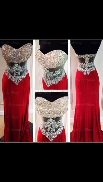 dress red prom dress red dress silver dress rhinestones bustier dress bustier prom dress long prom dress long dress