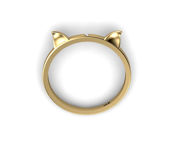 New 14k yellow gold lucky cat ears ring with by chicjoaillerie