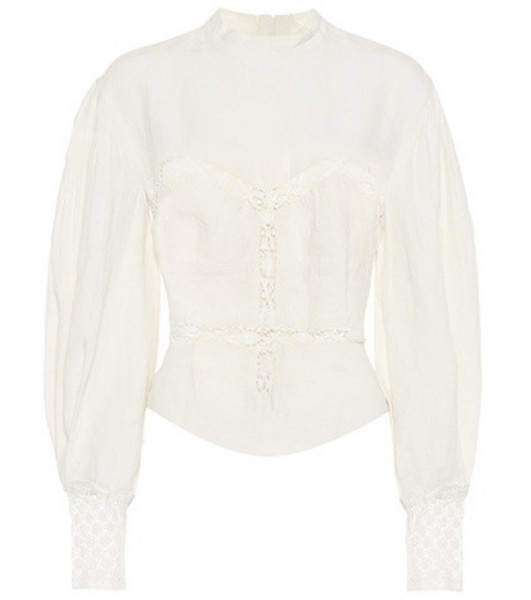 Isabel Marant Lyneth lace-trimmed cotton top in white