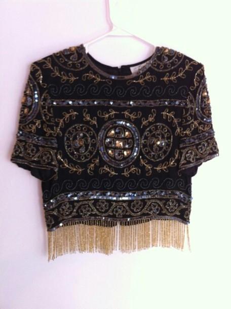 shirt pattern ethnic sequins cool vintage