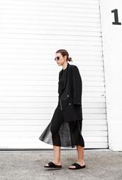 modern legacy,blogger,pleated skirt,blazer,slide shoes,all black everything,black slides