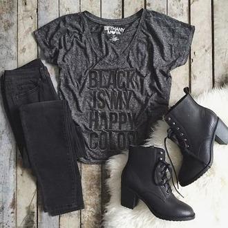 shirt black boots black shirt black jeans hair accessory shoes