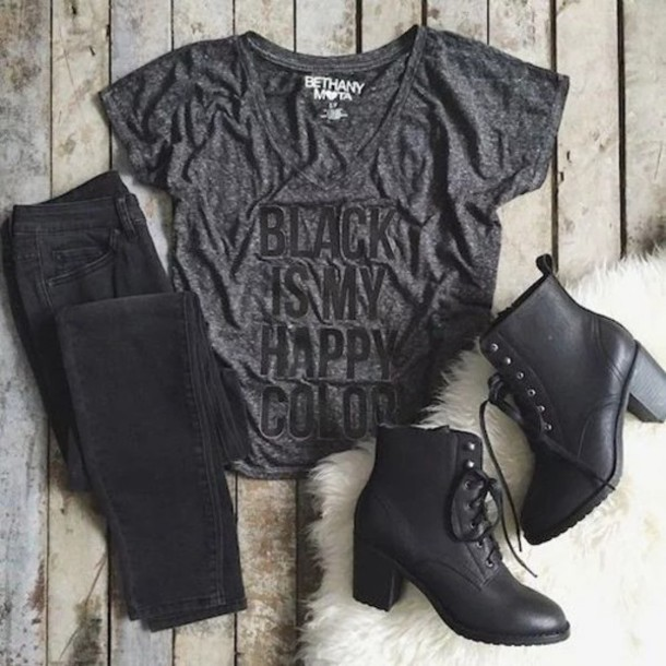 shirt black boots black shirt black jeans hair accessory shoes black boots heel boots black black t-shirt