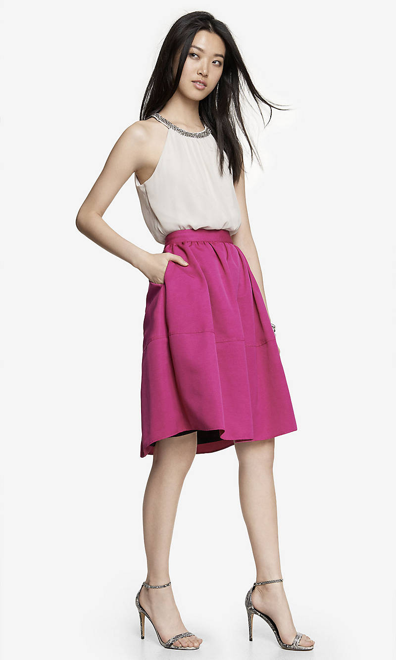 HIGH WAIST FULL MIDI SKIRT from EXPRESS