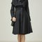 Drape neck long fall coat