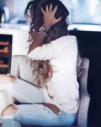 top tumblr white top denim jeans blue jeans ripped jeans watch silver watch bracelets silver bracelet ring silver ring jewels jewelry silver jewelry hairstyles hair long hair