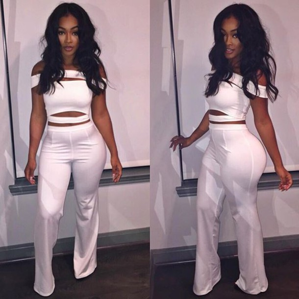 Jumpsuit Clothes Instagram Model Bodycon Body White