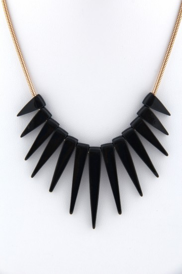 LoveMelrose.com From Harry & Molly | Black Spikes Necklace - Black / Gold
