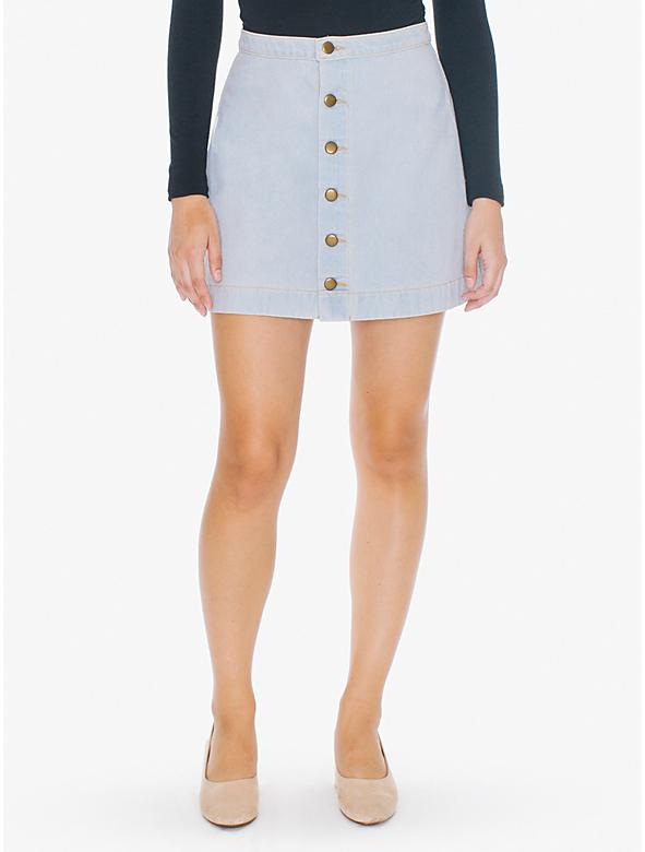 Denim Button Front A-Line Mini Skirt | American Apparel