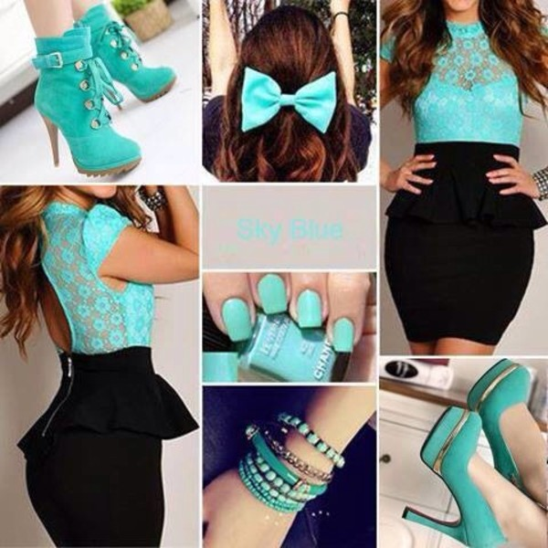 skirt aqua hair bow shoes high heels nair polish shirt
